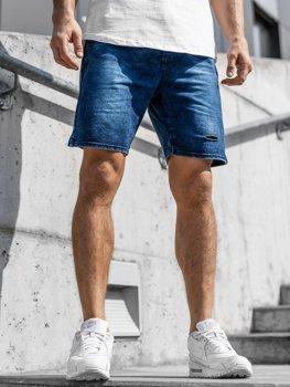 Krótkie spodenki jeansowe męskie granatowe Denley KK111