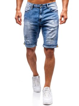 Krótkie spodenki jeansowe męskie niebieskie Denley T578