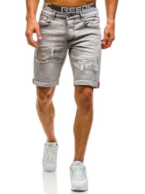 Krótkie spodenki jeansowe męskie szare Denley 9603