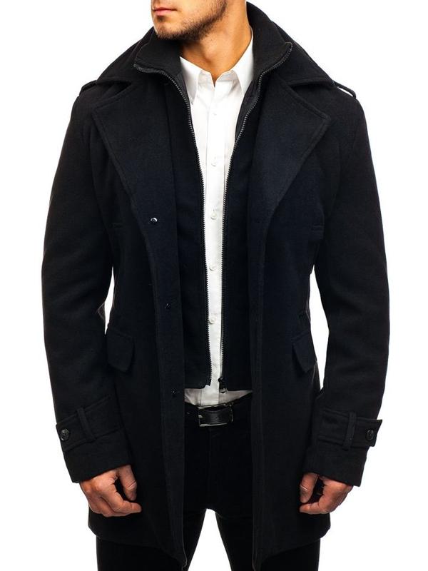 Płaszcz męski zimowy czarny Denley 1808-A