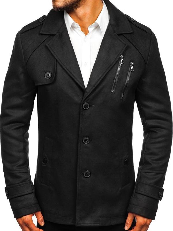 Płaszcz męski zimowy czarny Denley 3135