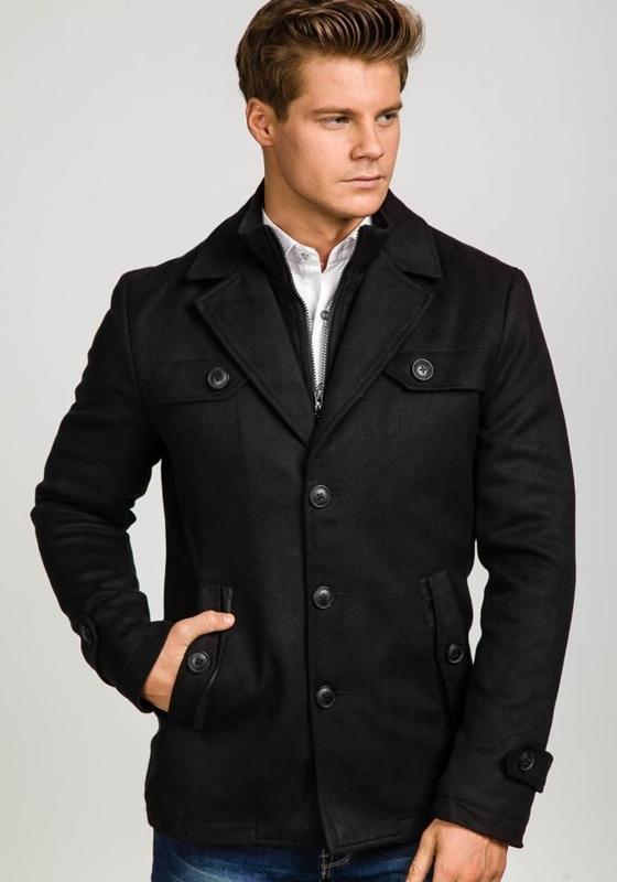 Płaszcz męski zimowy czarny Denley 3141