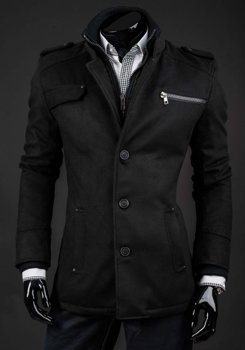 Płaszcz męski zimowy czarny Denley 8856A