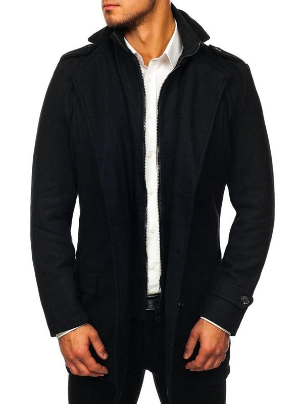 Płaszcz męski zimowy czarny Denley NZ02