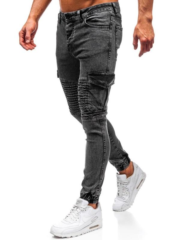Spodnie jeansowe joggery męskie czarne Denley 1064