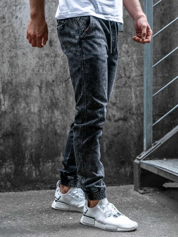 Spodnie jeansowe joggery męskie czarne Denley  KA1007