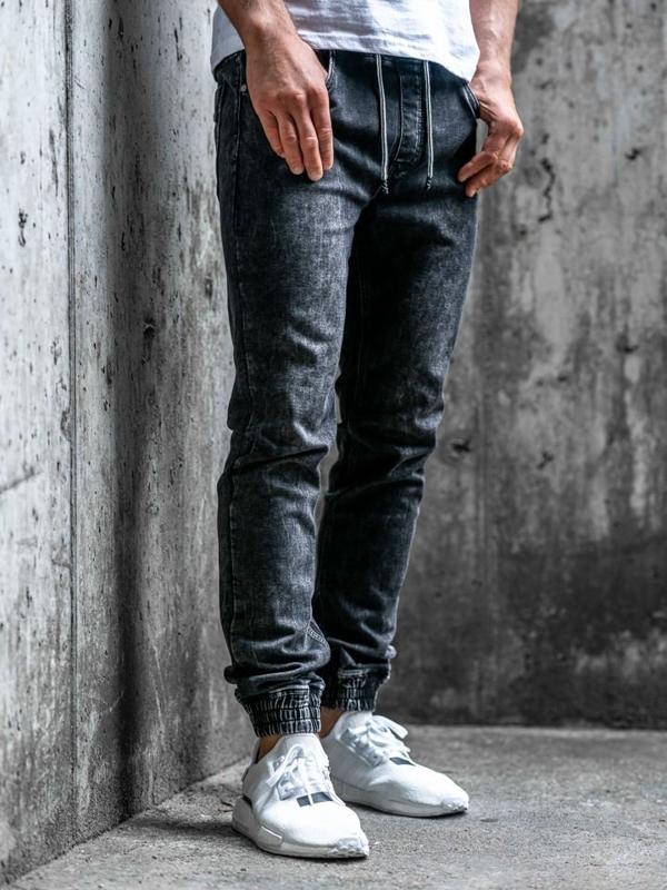 Spodnie jeansowe joggery męskie czarne Denley  KA1283