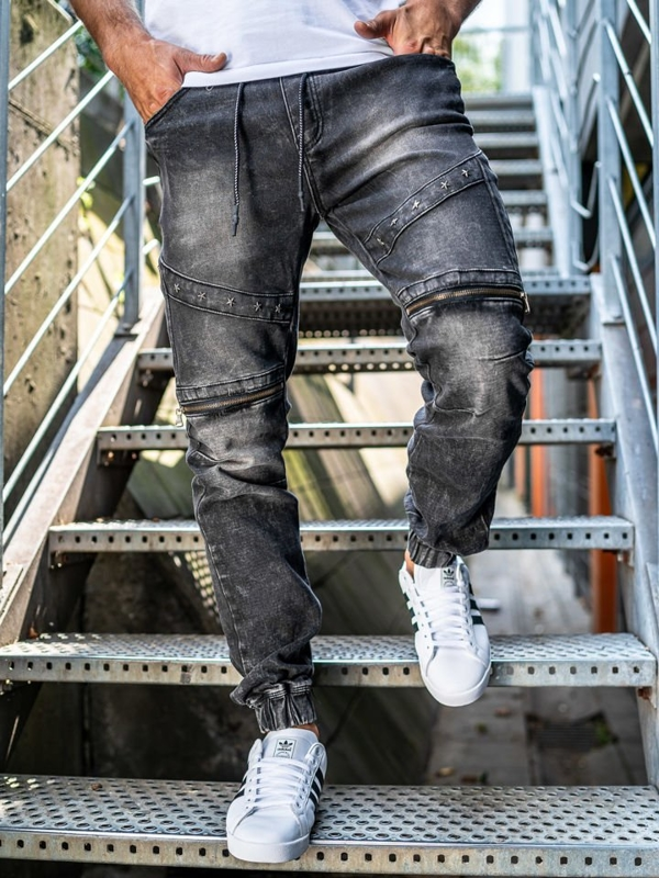 Spodnie jeansowe joggery męskie czarne Denley KA509