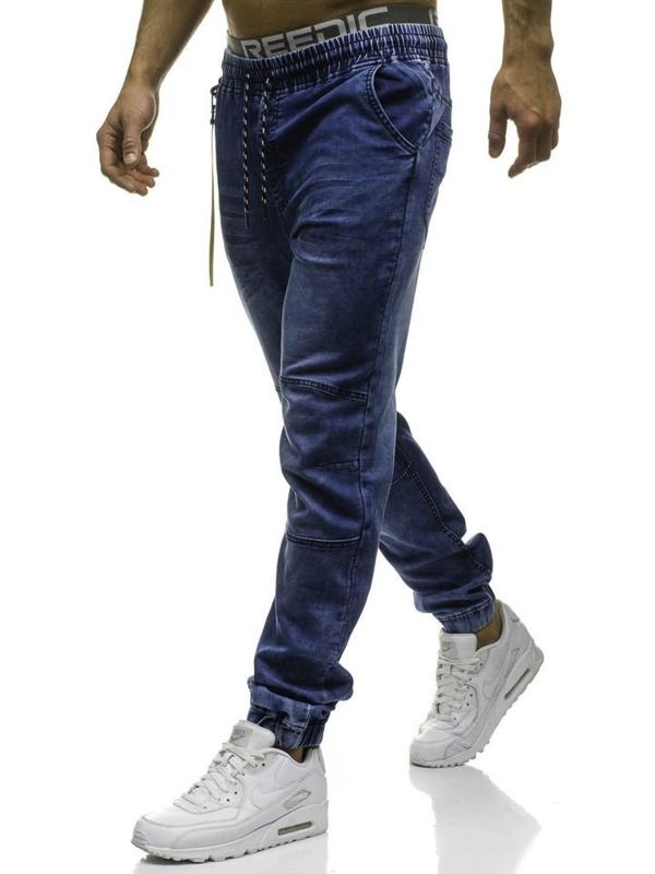 Spodnie jeansowe joggery męskie granatowe Denley HY183