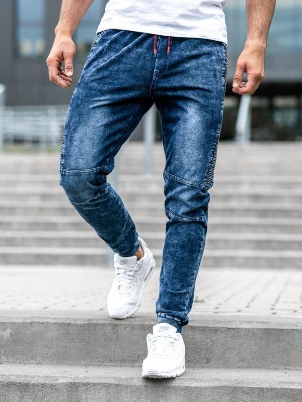 Spodnie jeansowe joggery męskie granatowe Denley KK1021