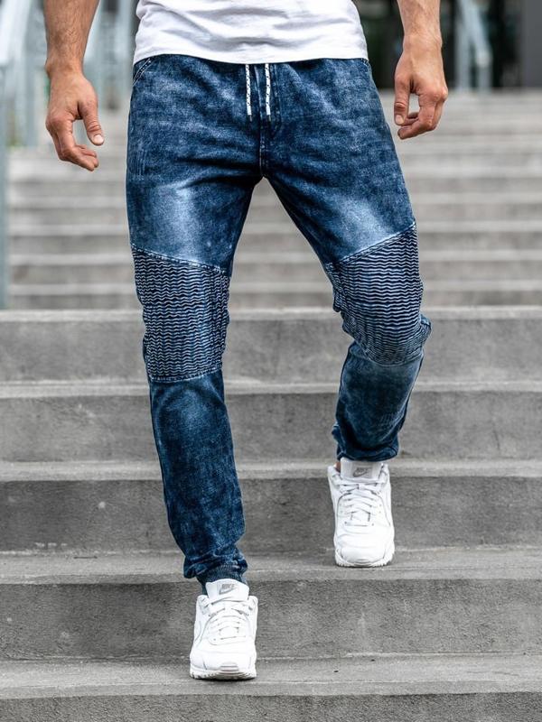 Spodnie jeansowe joggery męskie granatowe Denley KK1023