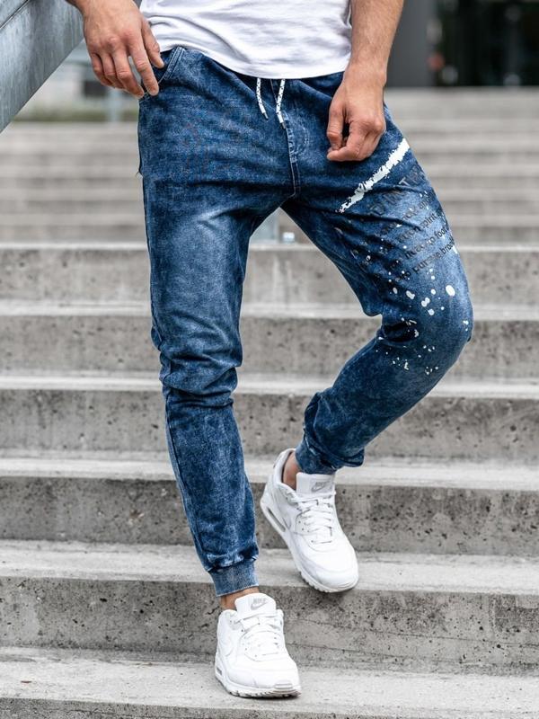 Spodnie jeansowe joggery męskie granatowe Denley KK1038