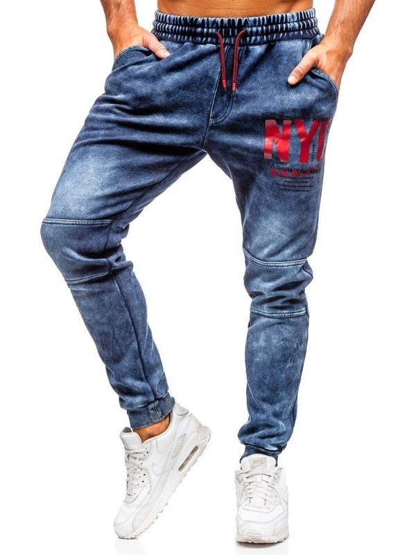 Spodnie jeansowe joggery męskie granatowe Denley  KK1057