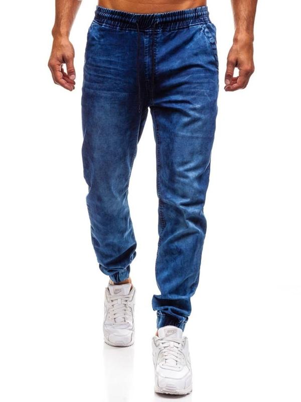 Spodnie jeansowe joggery męskie granatowe Denley Y242