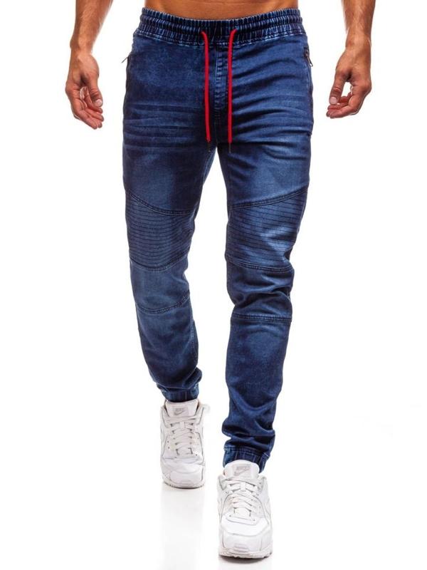Spodnie jeansowe joggery męskie granatowe Denley Y258