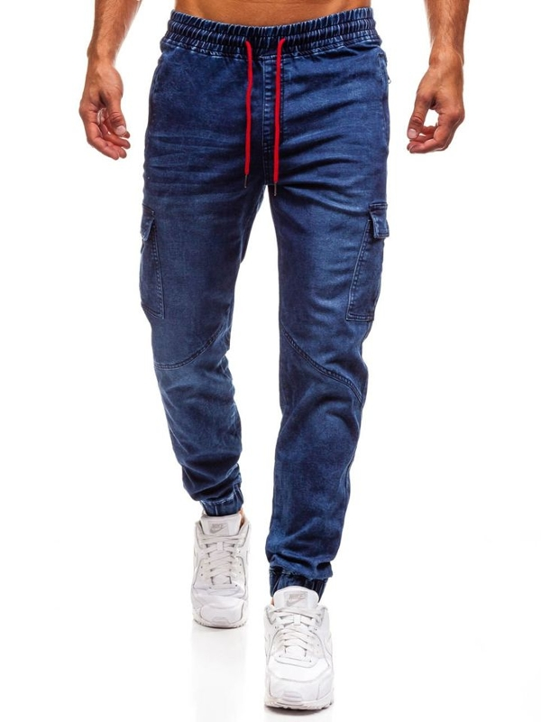Spodnie jeansowe joggery męskie granatowe Denley Y264