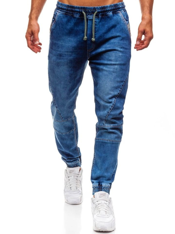 Spodnie jeansowe joggery męskie niebieskie Denley 620