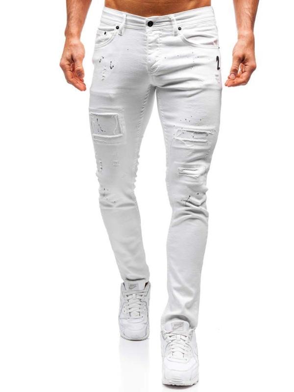 Spodnie jeansowe męskie białe Denley 4020
