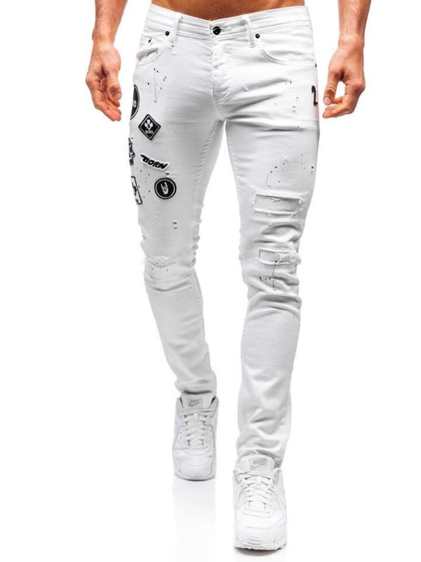 Spodnie jeansowe męskie białe Denley 4021