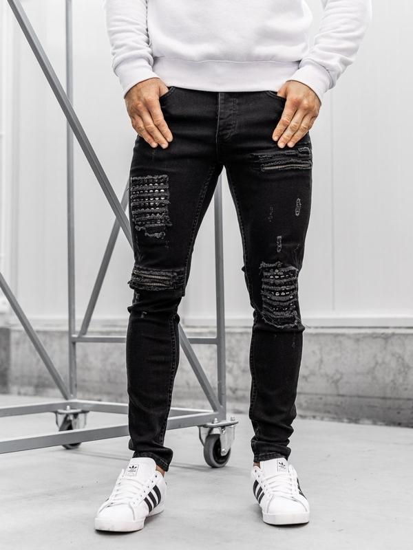 Spodnie jeansowe męskie czarne Denley 1082
