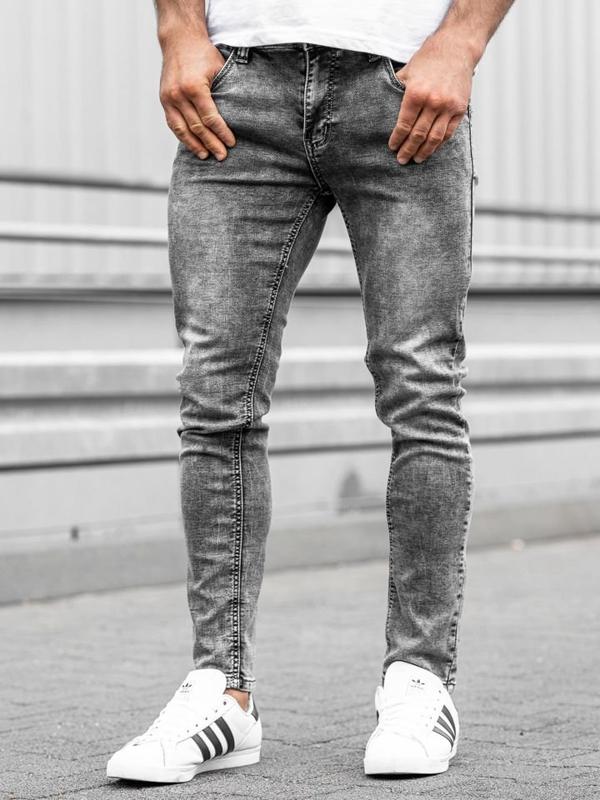 Spodnie jeansowe męskie czarne Denley KX186