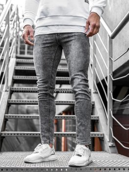 Spodnie jeansowe męskie czarne Denley KX189