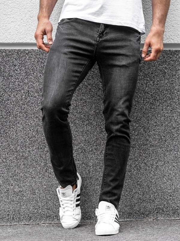 Spodnie jeansowe męskie czarne Denley KX258