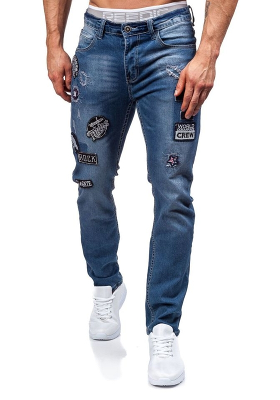 Spodnie jeansowe męskie granatowe Denley 1680
