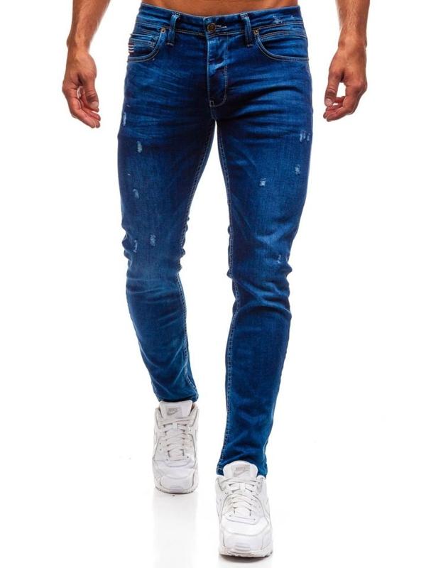 Spodnie jeansowe męskie niebieskie Denley 0671