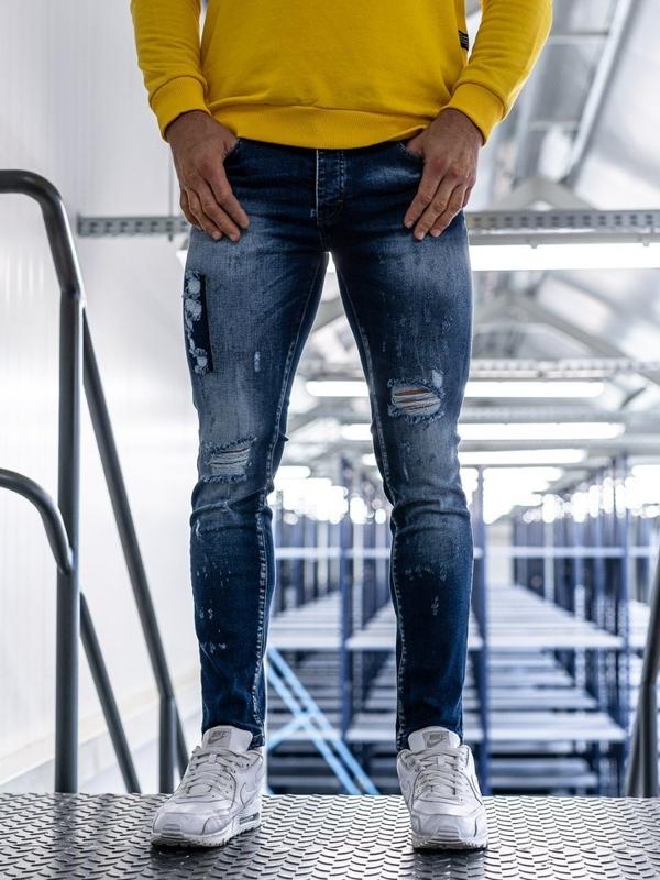 Spodnie jeansowe męskie niebieskie Denley 1801