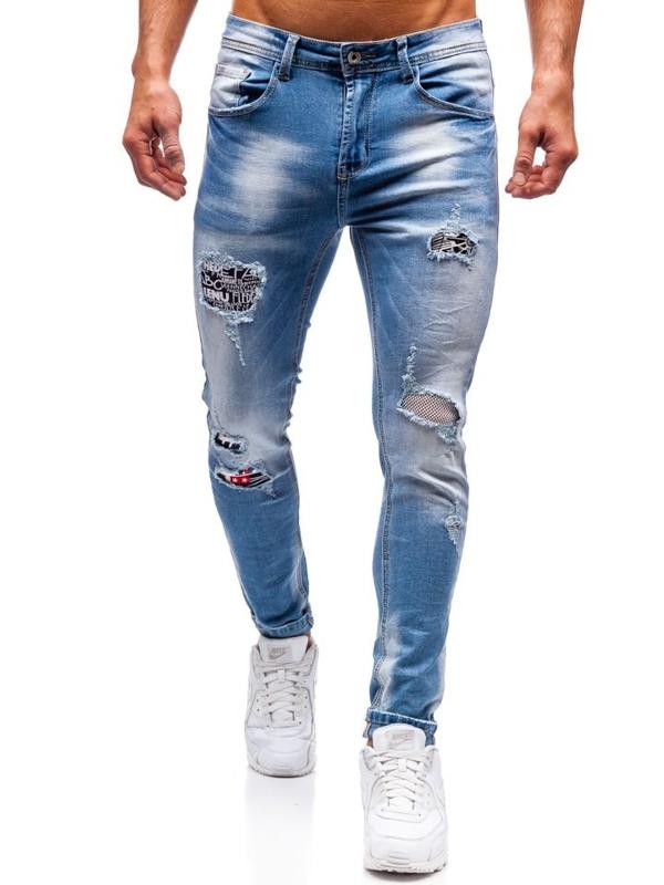 Spodnie jeansowe męskie niebieskie Denley 3940