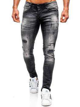 Spodnie jeansowe męskie regular fit czarne Denley 4008