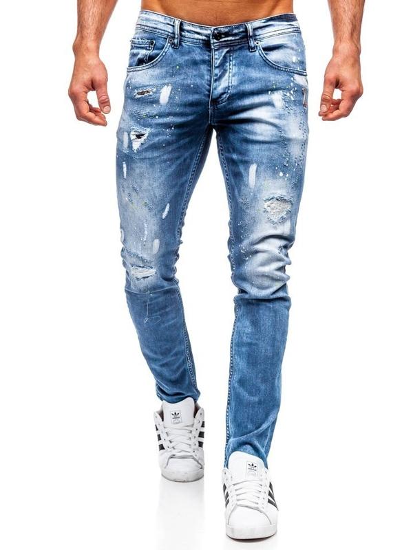 Spodnie jeansowe męskie regular fit granatowe Denley 4013