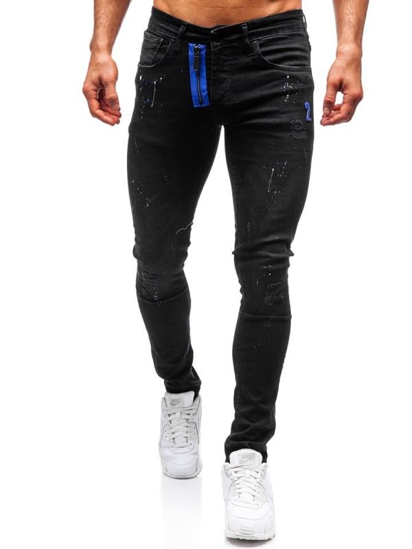 Spodnie jeansowe męskie skinny fit czarne Denley 9244