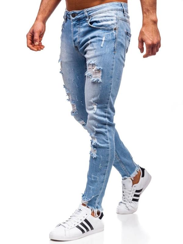 Spodnie jeansowe męskie skinny fit granatowe Denley KA279