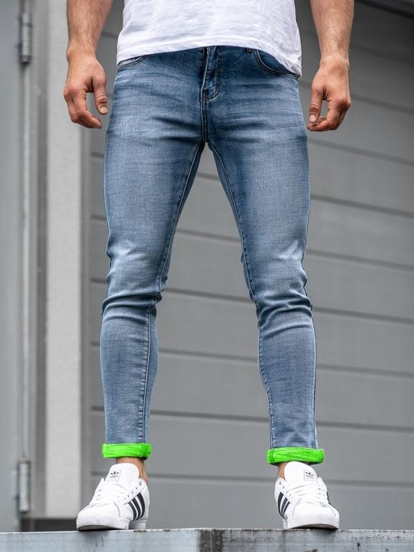 Spodnie jeansowe męskie skinny fit granatowe Denley KX162