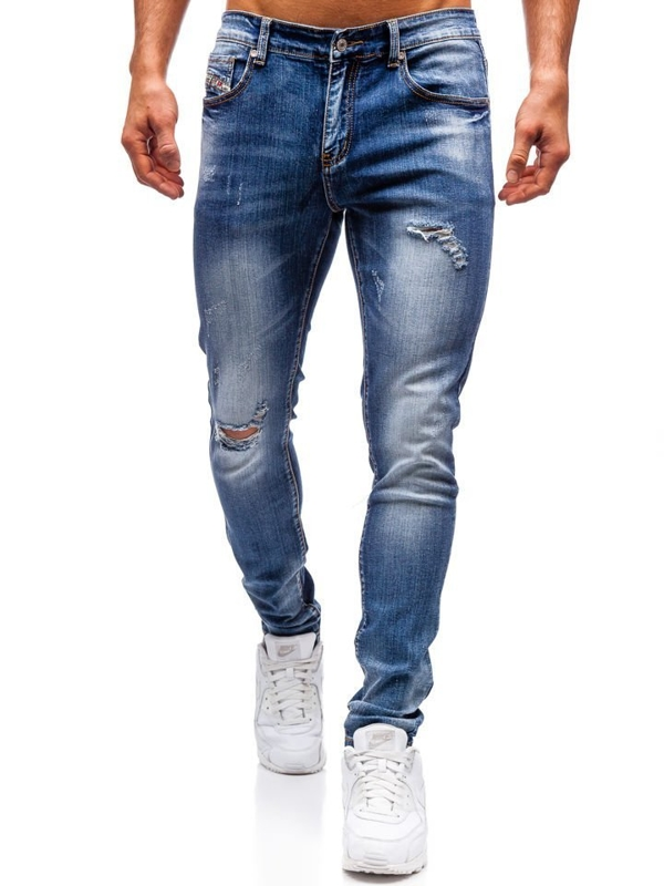 Spodnie jeansowe męskie slim fit granatowe Denley 71824