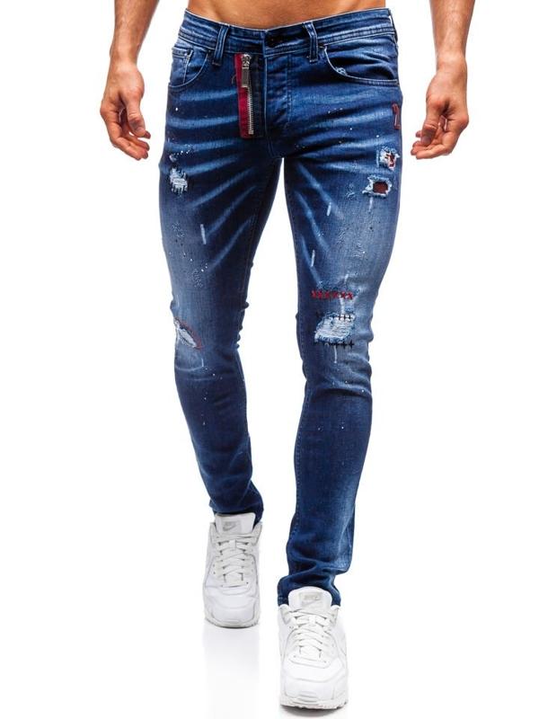 Spodnie jeansowe męskie slim fit granatowe Denley 9237