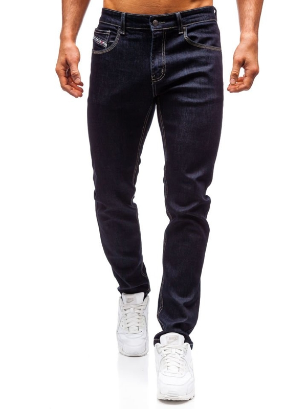 Spodnie jeansowe męskie straight leg atramentowe Denley 81832