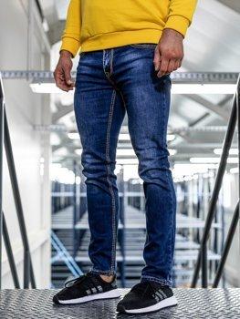 Spodnie jeansowe męskie straight leg granatowe Denley KA1125