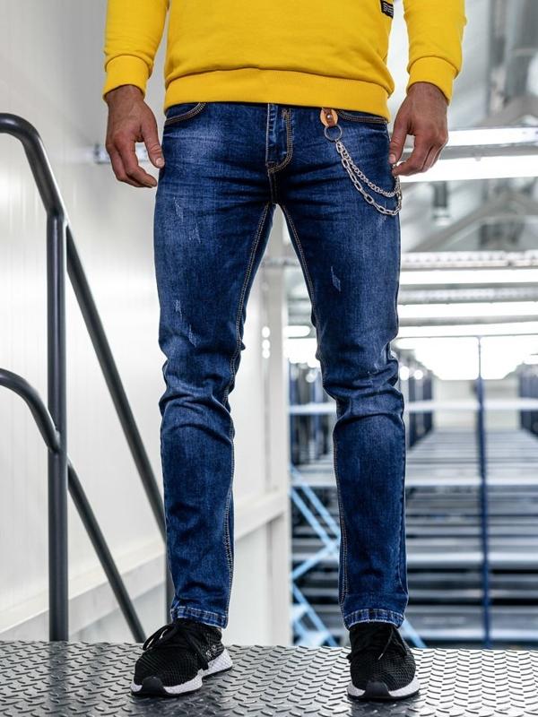 Spodnie jeansowe męskie straight leg granatowe Denley KA1232-1