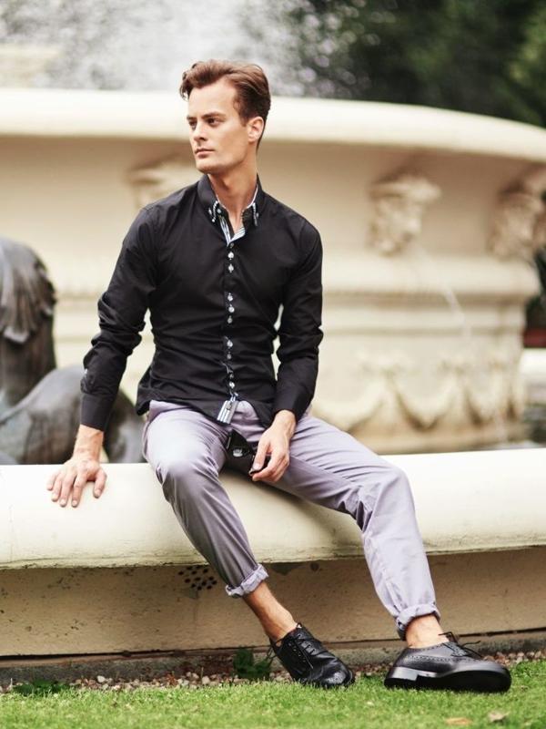 Stylizacja nr 303 - okulary, elegancka koszula, spodnie chinosy