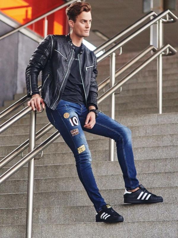 Stylizacja nr 306 - zegarek, kurtka skórzana, longsleeve, spodnie jeansowe