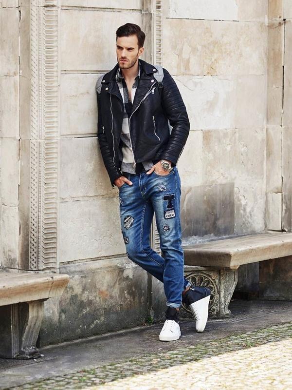Stylizacja nr 321 - kurtka skórzana, flanelowa koszula, spodnie jeansowe
