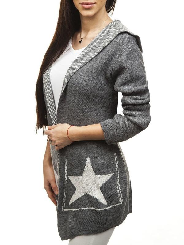 Sweter kardigan damski antracytowy Denley 05