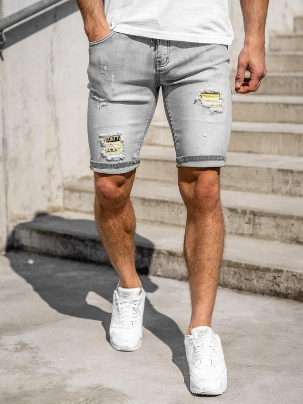 Szare jeansowe krótkie spodenki męskie Denley KG3811