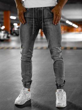 Szare spodnie jeansowe joggery męskie Denley KA1815