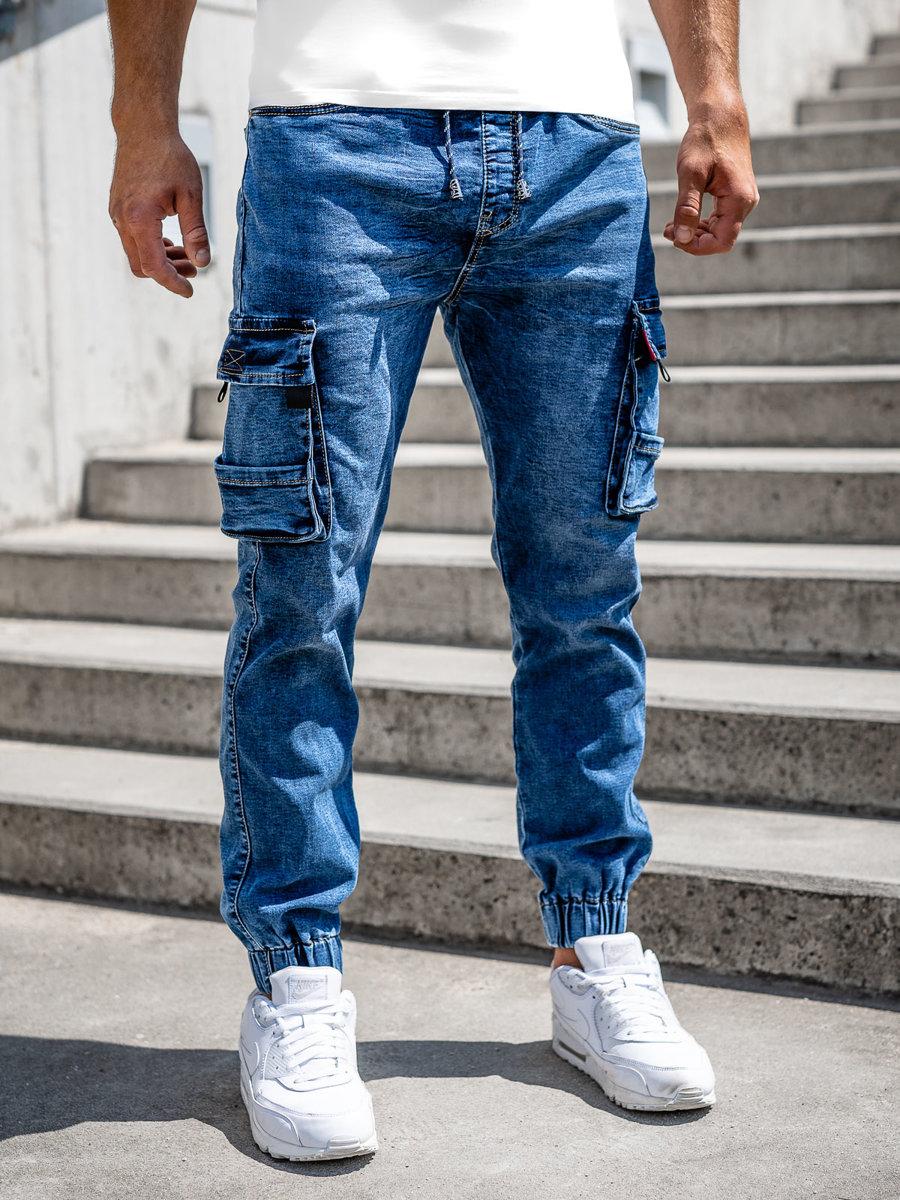Granatowe-spodnie-jeansowe-joggery-bojowki-meskie-Denley