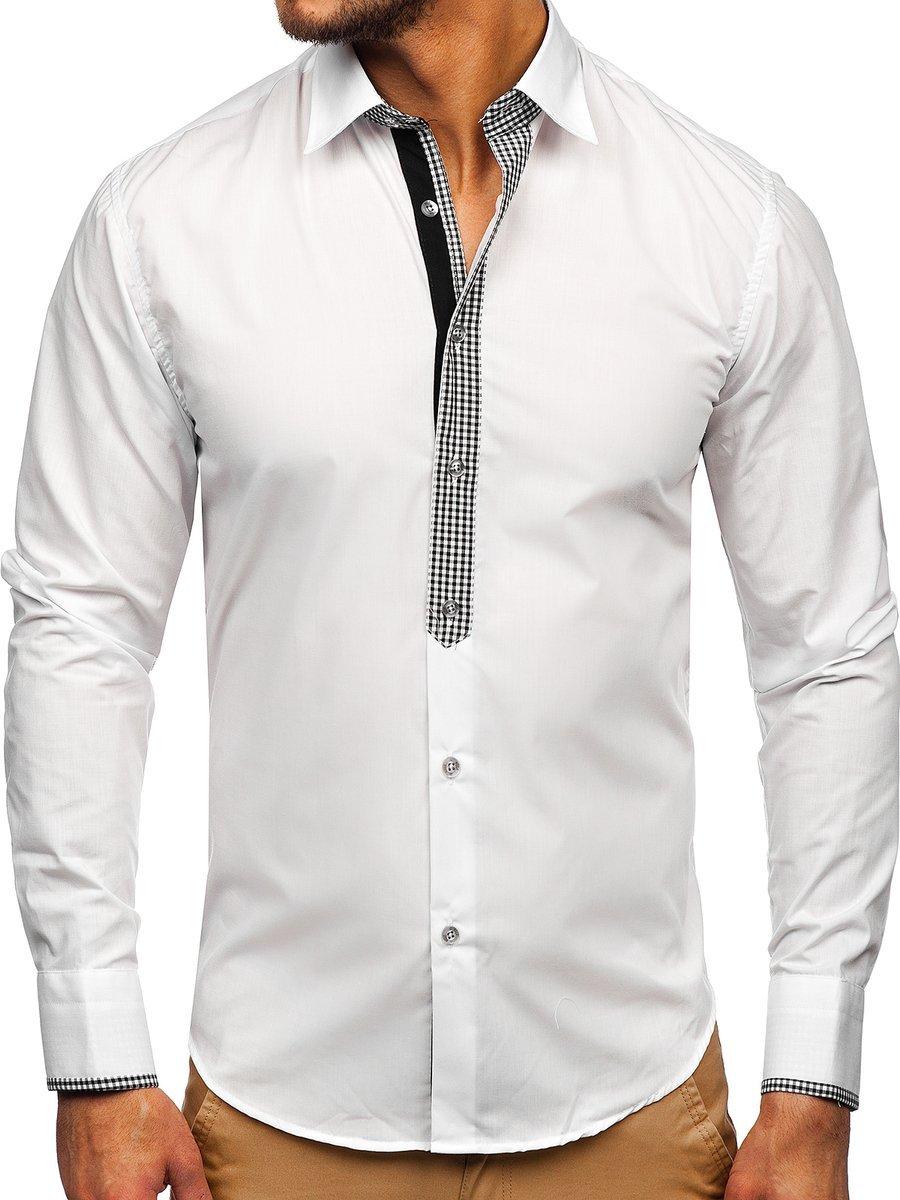 b2324268310a88 Koszula męska elegancka z długim rękawem biała Bolf 6873