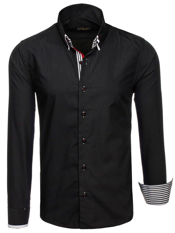 Koszula męska elegancka z długim rękawem czarna Bolf 1747  T9epA